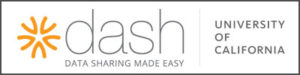 """dash logo with text """"Data sharing made easy"""" and """"University of California"""""""