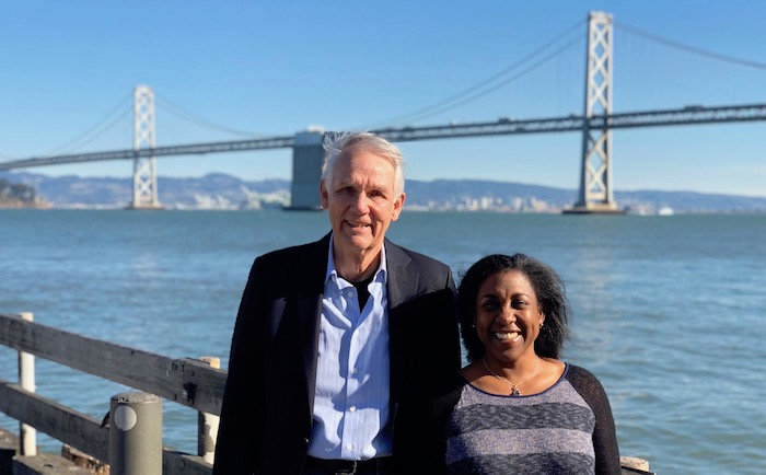 Samuel Luoma, editor-in-chief, and Lauren Muscatine, managing editor, along the Embarcadero in San Francisco