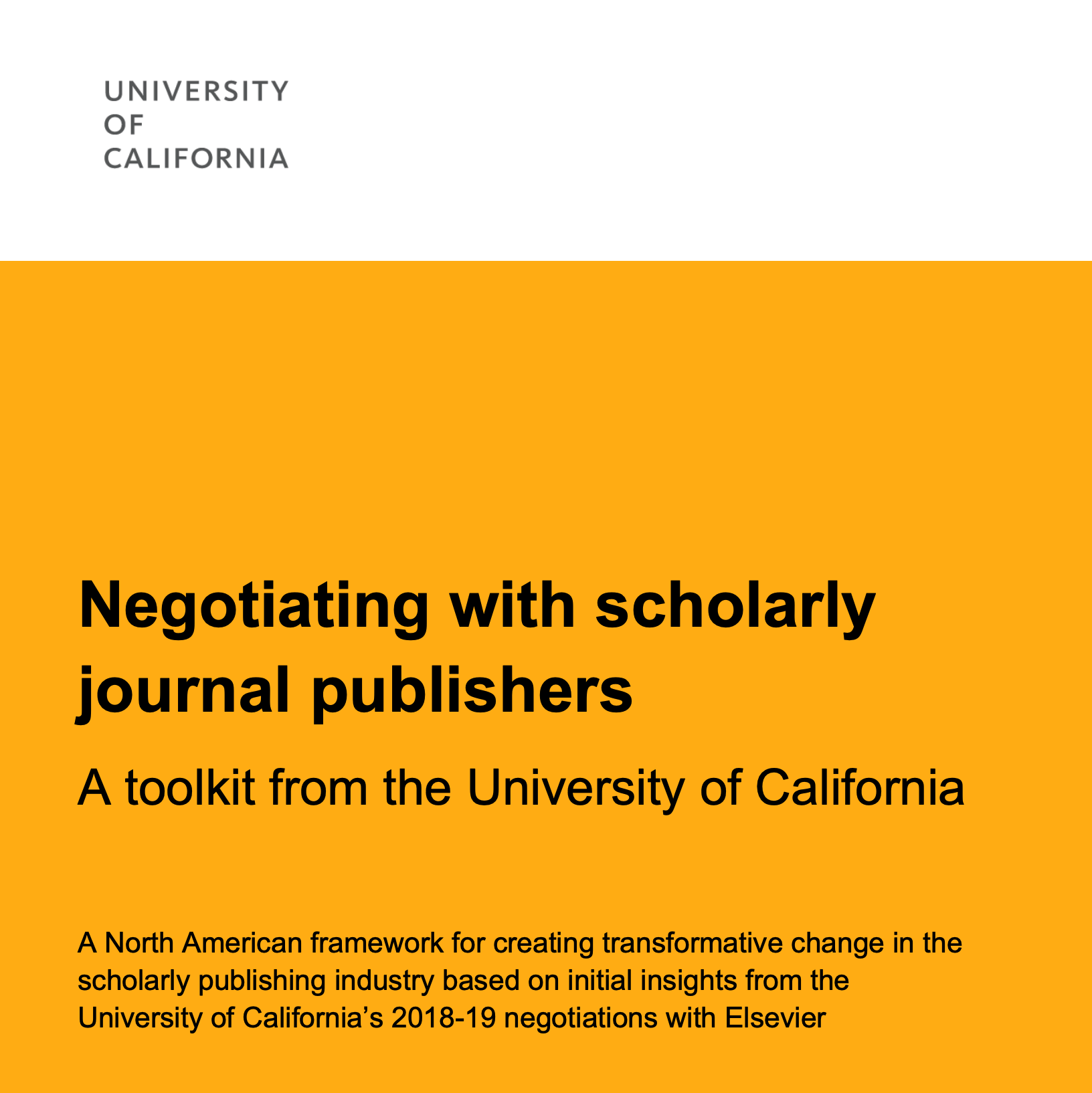 Negotiating with scholarly journal publishers: A toolkit