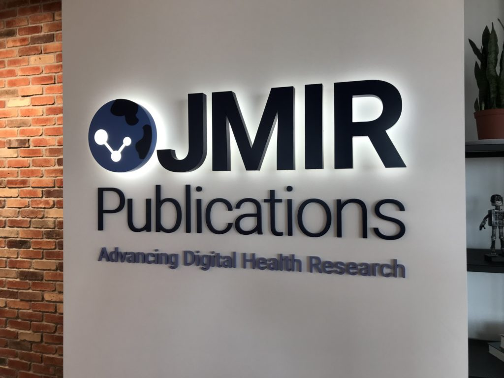 "Sign in an office reading ""JMIR Publications, Advancing Digital Health Research"""