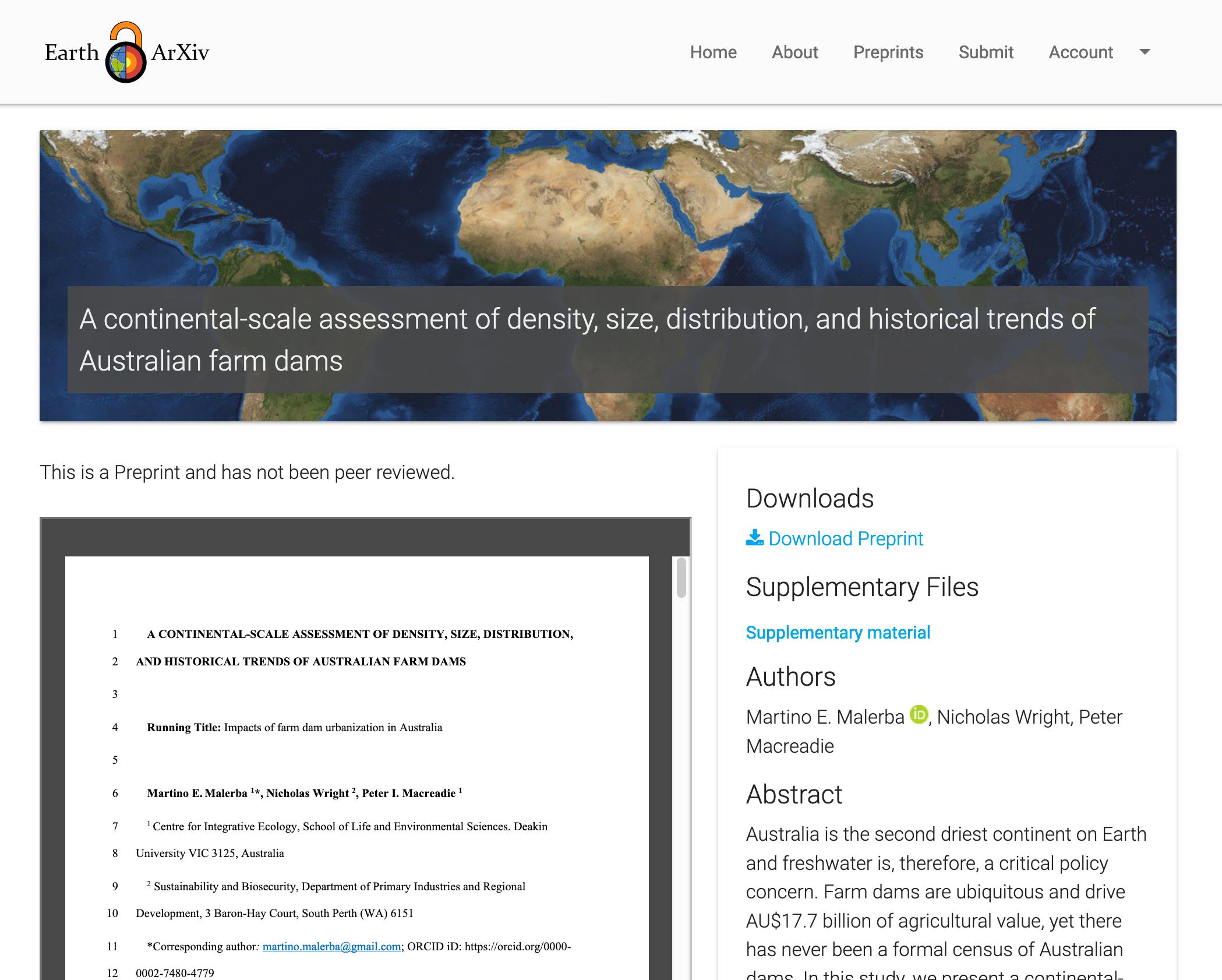screenshot of an article on EarthArXiv