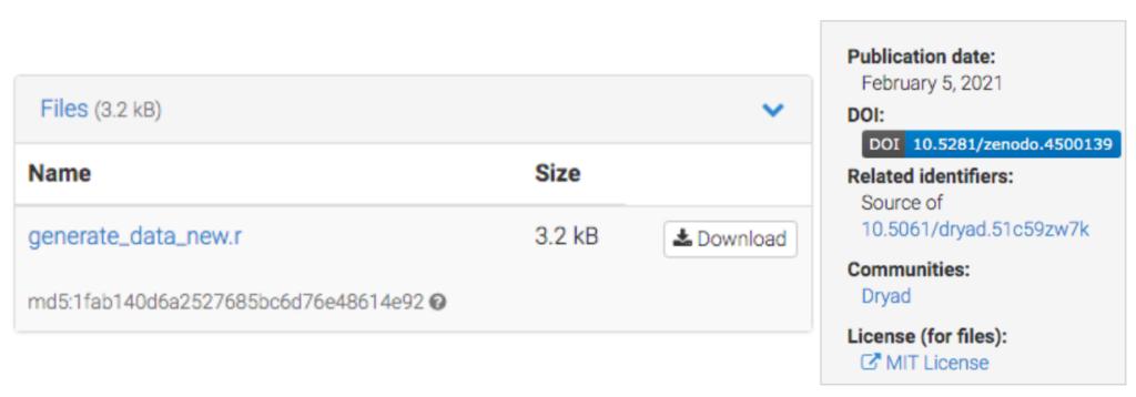 Screenshot of software downloadable from Zenodo