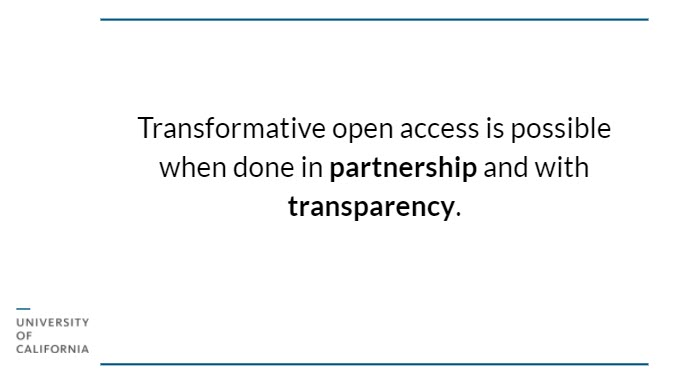 """Black text on white background: """"Transformative open access is possible when done in partnership and with transparency."""""""